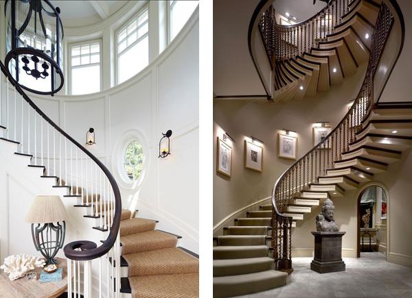 Освещение лестницы с помощью бра и точечных светильников