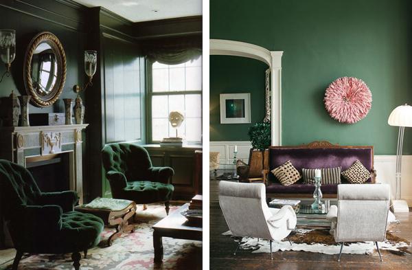 темно-зеленый цвет в интерьере гостиной дизайн фото