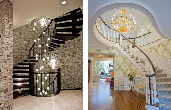 Освещение лестниц подвесом и люстрой