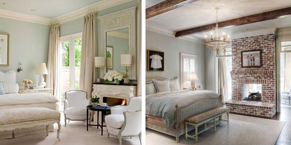 """Спальни с камином в стиле """"Французский шик"""" и Прованс классические фото"""