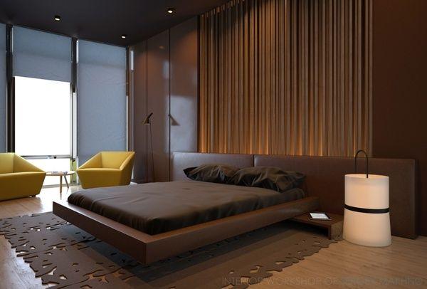 Современная спальня с бортиком по периметру