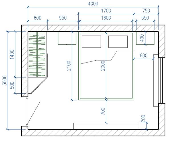 Планировка спальни площадью 12 квадратных метров.