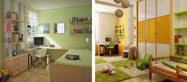 Зеленый цвет в детской Светло-зеленый цвет дизайн фото