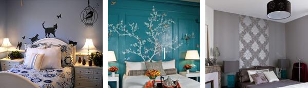 Декорирование изголовья кровати стикерами, росписью, обоями