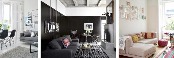 Гостиные с белым, серым и черным цветом стен. Фото.