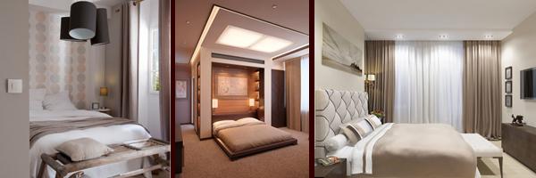 Бежевый, песочный, желтый и коричневый цвет в интерьере дизайн фото спальни. Более 50 фотографий