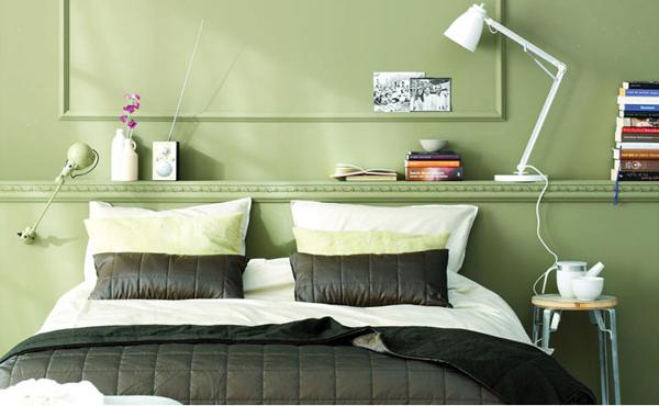 молодежная спальня в зеленых тонах дизайн фото