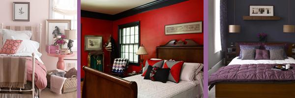 Красный, розовый и фиолетовый цвет в интерьере спальни
