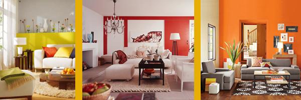 красные, оранжевые и желтые гостиные