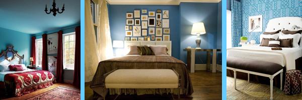 Синий, голубой и бирюзовый цвет в интерьере спальни. Более 30 фотографий