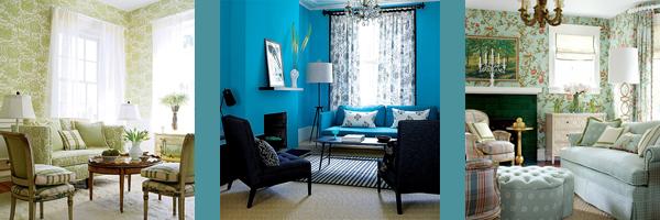 синие, зеленые и бирюзовые гостиные