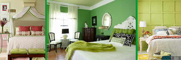 Зеленый цвет в интерьере спальни.Более 20 фотографий