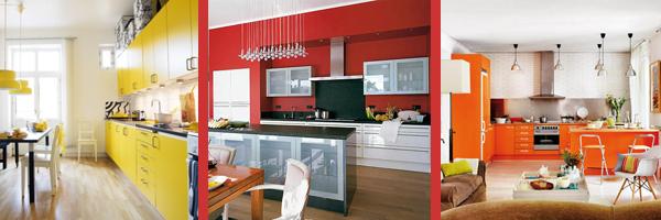 современные кухни красного желтого оранжевого цвета