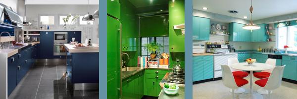 кухни синего бирюзового зеленого цвета