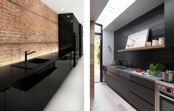 Дизайн кухни с чёрными фасадами
