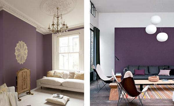 Фиолетовые стены в классической и современной гостиной.