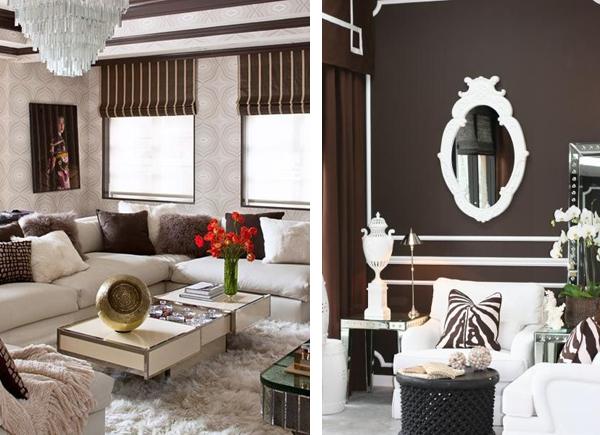 Коричневый цвет в интерьере гостиной дизайн фото