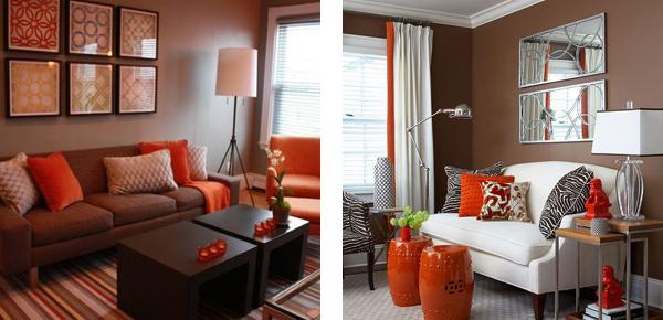 Сочетание коричневого и оранжевого в интерьере гостиной