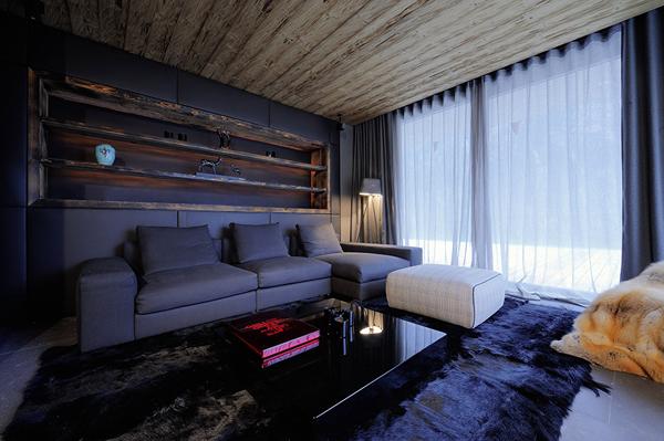 черный цвет стен в гостиной