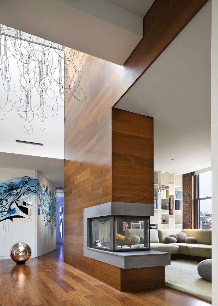 Open Fireplace And Wood Kitchen Design Ideas ~ Фотографии каминов в современном стиле Более фото live