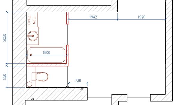 Расширение санузла за счет коридора. План до перепланировки
