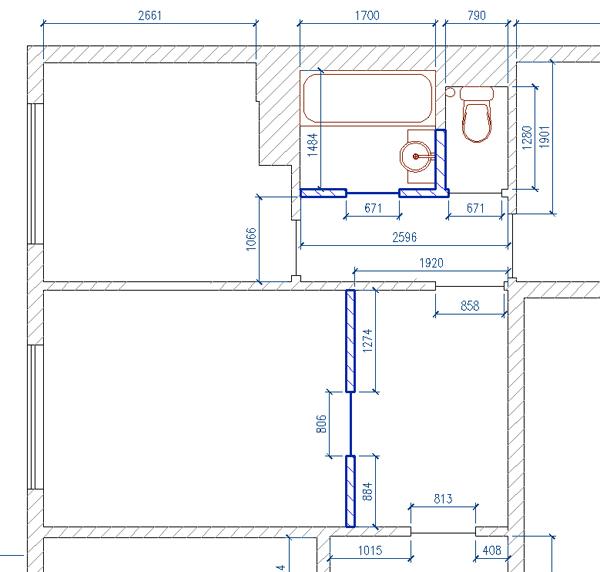 План совмещенного санузла после перепланировки и расширения