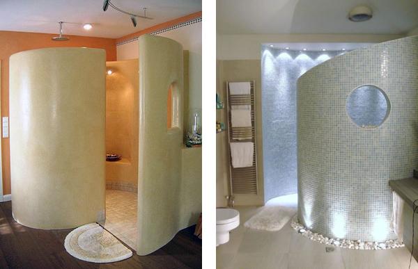 Круглая душевая перегородка в ванной комнате и санузле