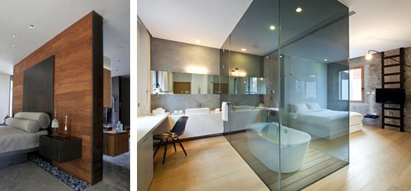 Зонирование в спальне с ванной дизайн перегородок