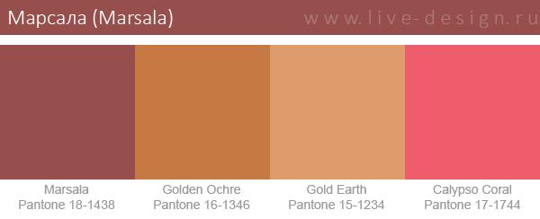 Сочетания цветов на основе оттенка Марсала по версии Института цвета Pantone. Вариант 1