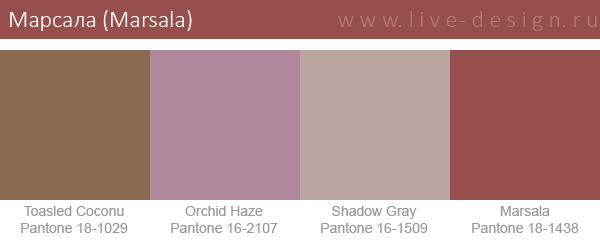 Сочетания цветов на основе оттенка Марсала по версии Института цвета Pantone. Вариант 4