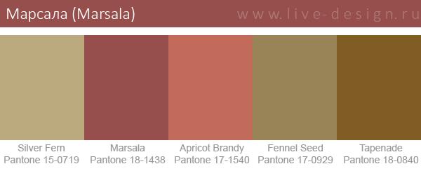 Сочетания цветов на основе оттенка Марсала по версии Института цвета Pantone. Вариант 5