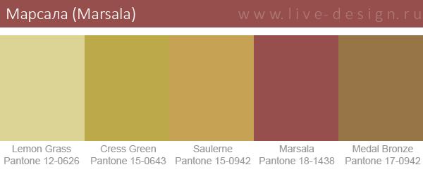 Сочетания цветов на основе оттенка Марсала по версии Института цвета Pantone. Вариант 6