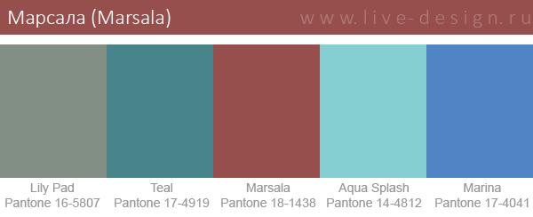 Сочетания цветов на основе оттенка Марсала по версии Института цвета Pantone. Вариант 7