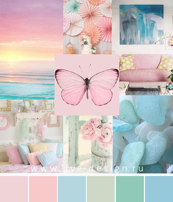 цвет года 2016 Rose Quartz  Розовый кварц сочетания цветов розовый голубой морская волна