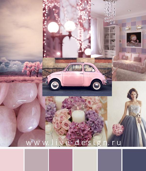 цвет года 2016 Сочетание цветов на основе цвета Rose Quartz / Розовый Кварц с пастельными оттенками лилового и сиреневого цвета