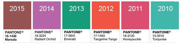 Цвета, которые Институт Pantone выбирал главными за последние несколько лет