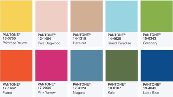 Модные цвета pantone сезон весна -лето 2017