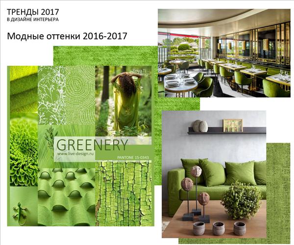 Модный цвет 2017 в дизайне интерьера - Greenery
