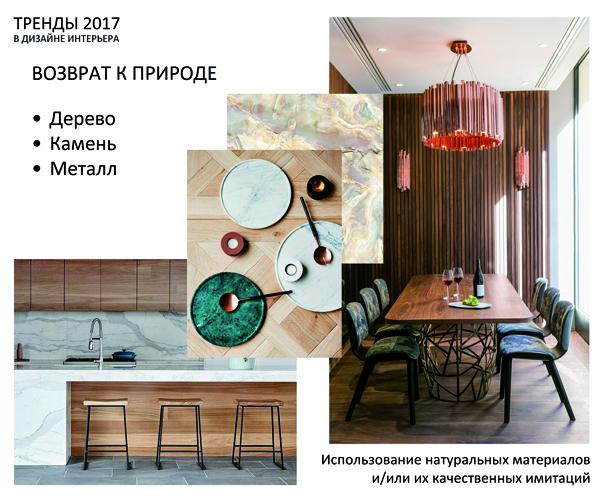Тренды 2017-2018 в дизайне интерьера - Возврат к природе