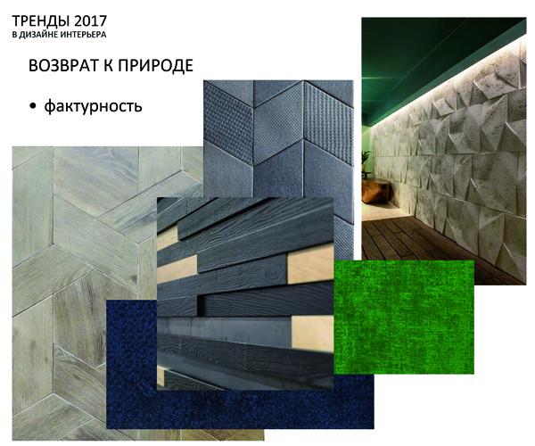 Тренды 2017-2018 в дизайне интерьера - фактурность