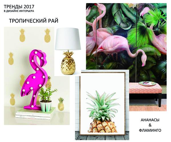 Тренды 2017-2018 в дизайне интерьера - тропики