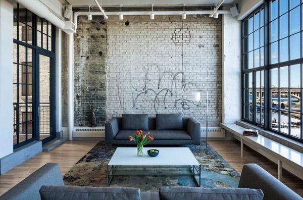 интерьер в стиле лофт с ковром