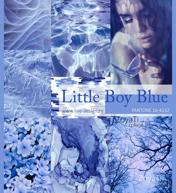 Модный цвет Pantone 2018 - Little Boy Blue. Коллаж от Зои Ти