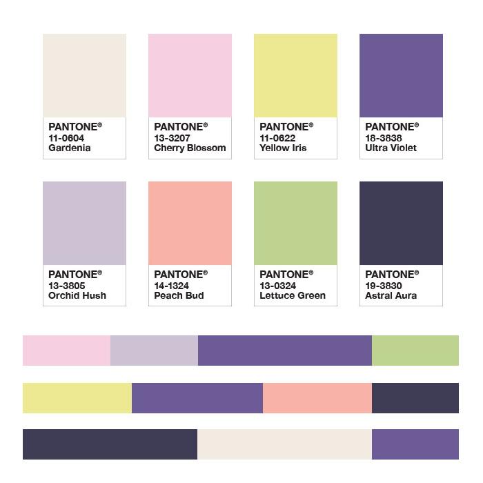 Палитра дополнительных цветов к цвету 2018 Ultra Violet